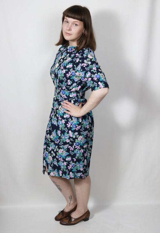 Vintage Kleid mit floralem Muster und Gürtel, 38 - Vintage ...