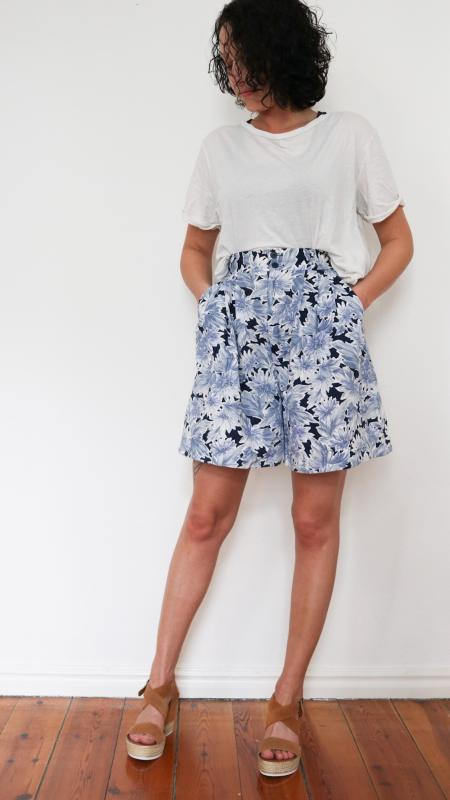 Florale High-Waist-Culottes aus Japan